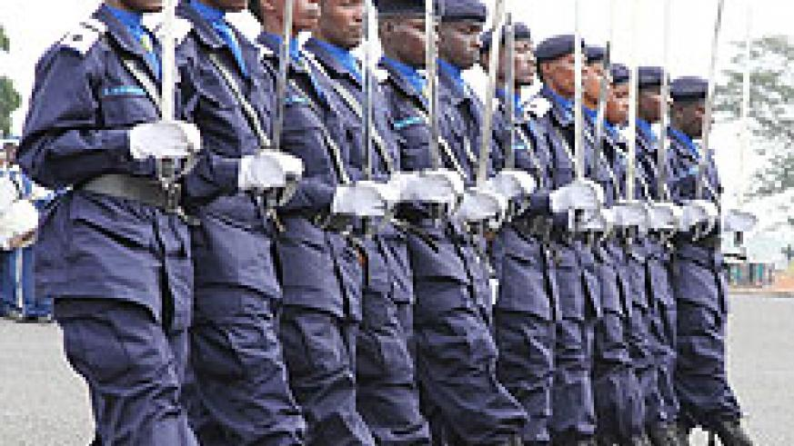 Police officers at a recent pass-out. The force's academy will soon offer university courses in Law  and ICT. The New Times File photo.