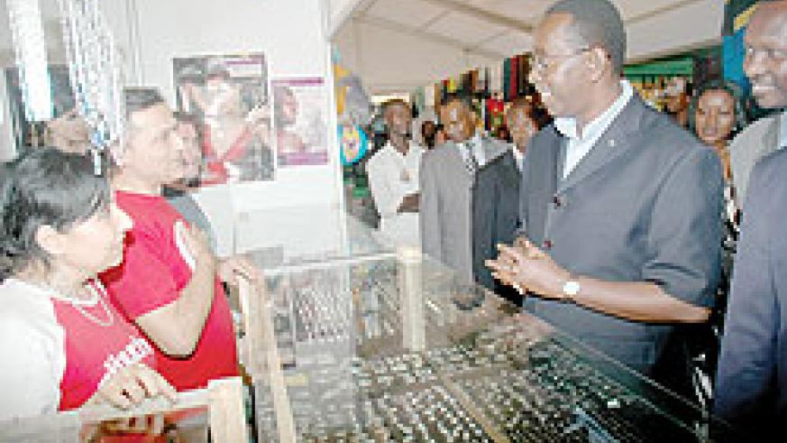 Prime Minister Bernard Makuza visiting one of the foreign stands in the previous EXPO. The New Time Courtesy photo