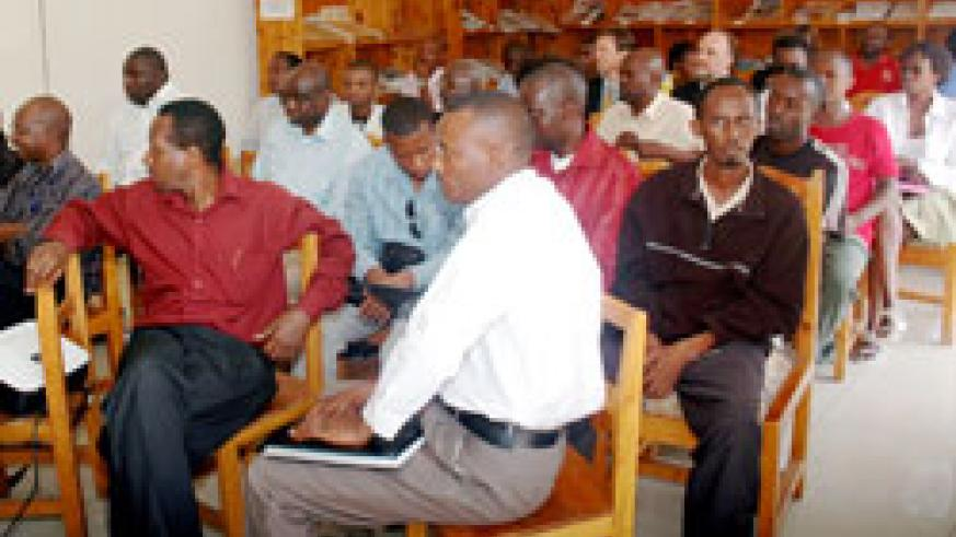 Journalists during a past function at the Press House. Parliament will this week debate several media bills . The New Times /File.