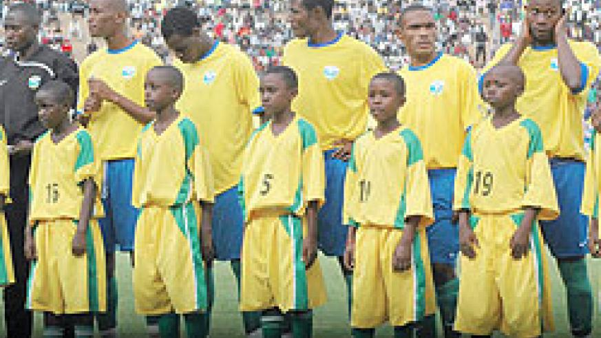 Amavubi players during a past international match at Amahoro Stadium. The New Times / File