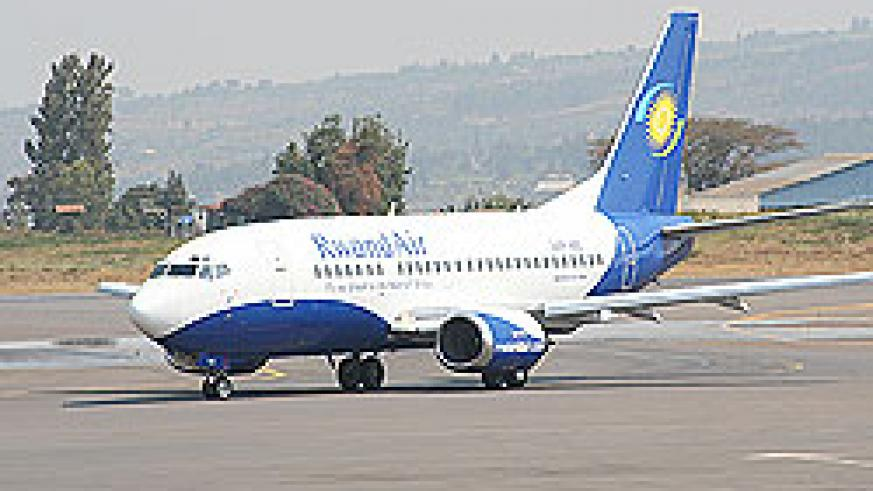 A RwandAir jet at the Kigali International Airport. The airline has recently registered tremendous growth. The New Times/File.