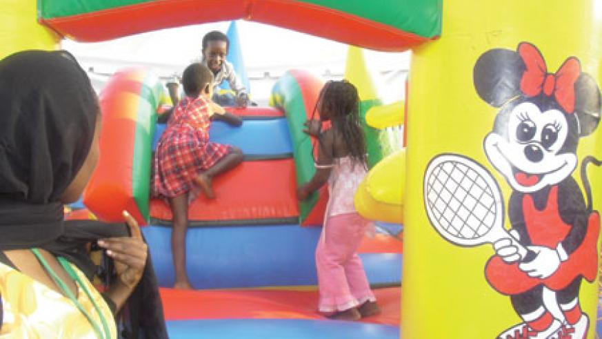 Its fun to be at the bouncing castle!