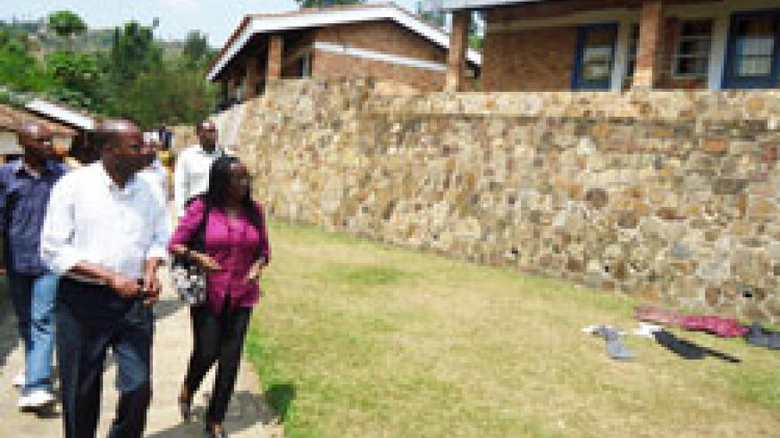 IMPRESSED; Acting Rector Dr Chantal Kabagabo (R) and her team tour the KHI's Western Campus in Karongi district The New Times /S.Nkurunziza