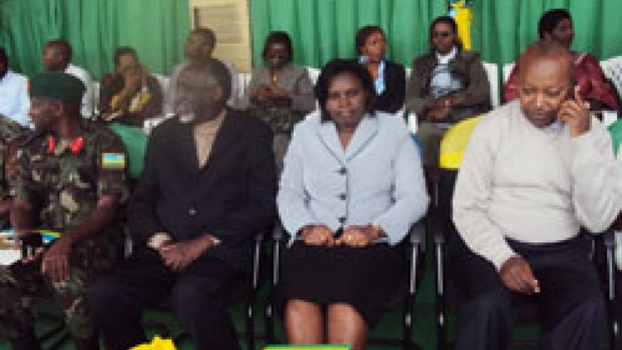 (L-R) The Ombudsman Tito Rutaremara, Minister Venancia Twagirayezu and Governor Celestin Kabayizi during the launch of the anti corruption week in Rubavu. The New Times /Alex Ngarambe.