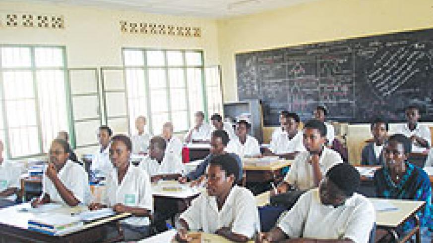 FAWE Girls' Secondary School students in a class session. Authorities plan to raise financial literacy within schools. The New Times / File Photo