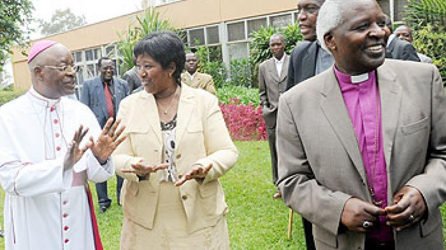 The Minister of Health, Dr. Agnes Binagwaho (2Left), has commended religious leaders for their continued contribution in fighting diseases. The New Times / John Mbanda
