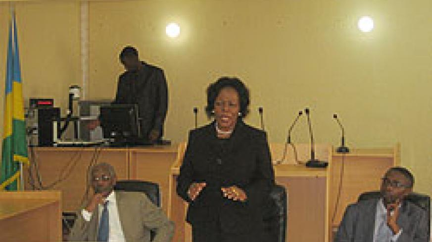 Sierra Leonean Chief Justice, Umu Hawa Tejan Jalloh, during her visit at Musanze Commercial Court. The New Times/ Bonny Mukombozi.