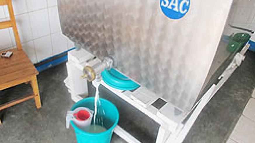 The new milk cooler at a collection centre in Gatsibo . The New Times/ File photo
