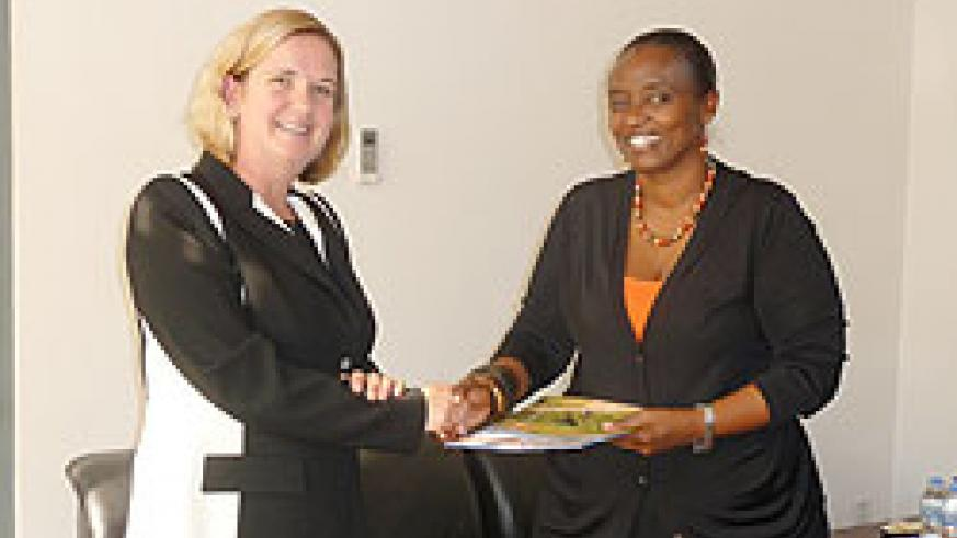 The new UNICEF Representative to Rwanda, Ms. Noala Skinner, presents her letters of credence to Mary Baine, the Permanent Secretary in the Ministry of Foreign Affairs and Cooperation. The New Times/Courtesy