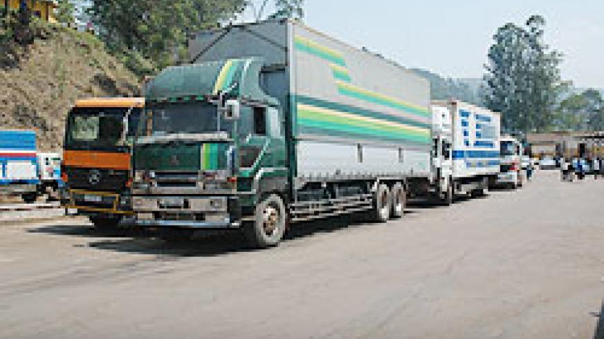 Cargo Trucks at Gatuna border. The East African Business Council (EABC)  has urged regional countries to emulate Rwanda and remove NTBs. The New Times/ File Photo