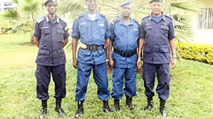Burundian Police Commanders of Ngozi and Kirundo (middle) and Eastern and Southern RPCs pose for a group photo in Nyamata. The New Times /Stephen Rwembeho.