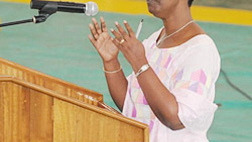 Minister Aloysea Inyumba cautioned girls against early pregnancies. The New Times File Photo