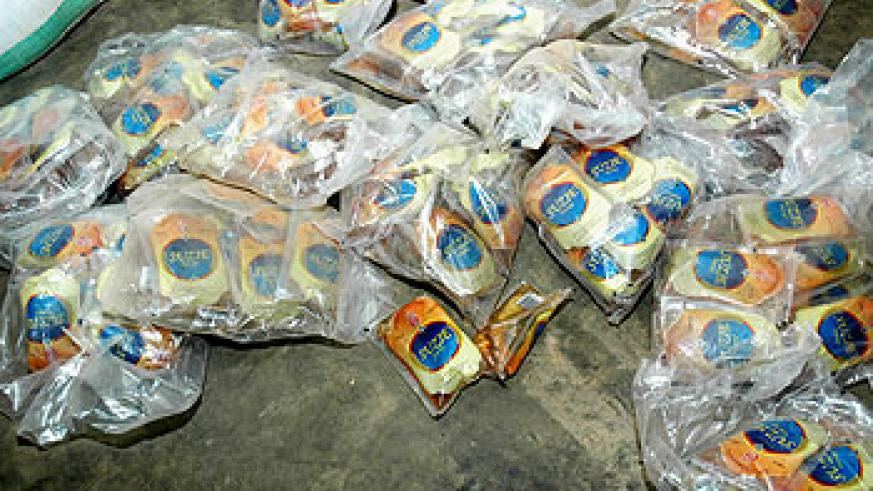 Authorities impounded contraband on the Cyanika border post recently. The New Times File.