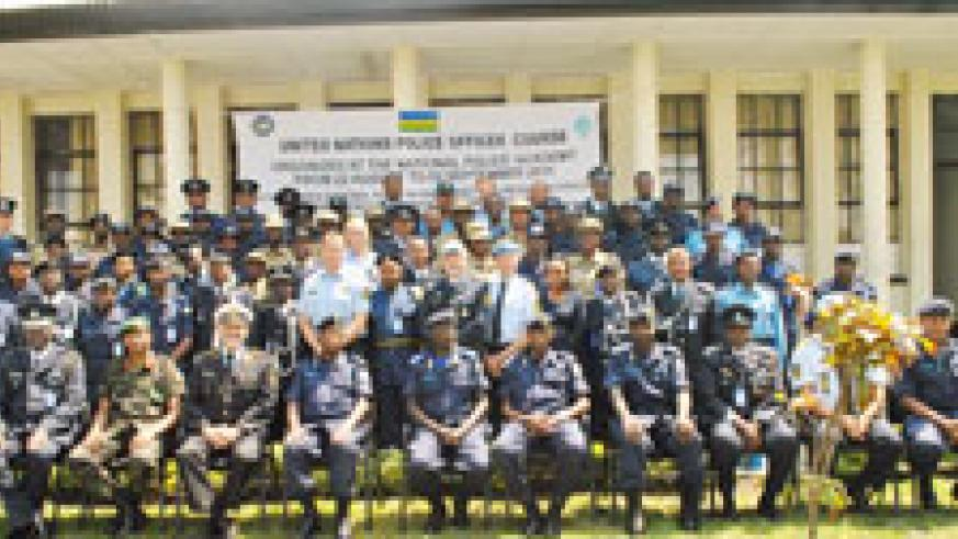 Participants in United Nations Police Officer Course that is taking place at Rwanda Police Academy, Musanze pose for a group photo. The New Times /B Mukombozi.