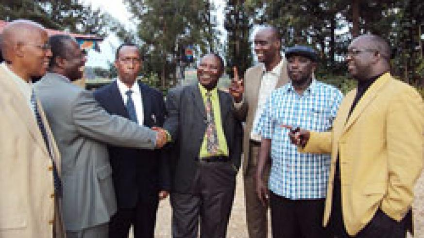Members of the newly formed anti-injustice committee of the Association of Pentecostal Churches in Rwanda (ADEPR) share a light moment. The New Times /Daniel Sabiiti