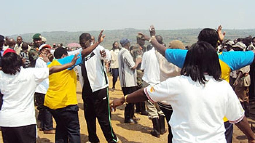 MPs join Nyagatare residents  in song and dance shortly after Umuganda, last Saturday. The New Times /Dan Ngabonziza