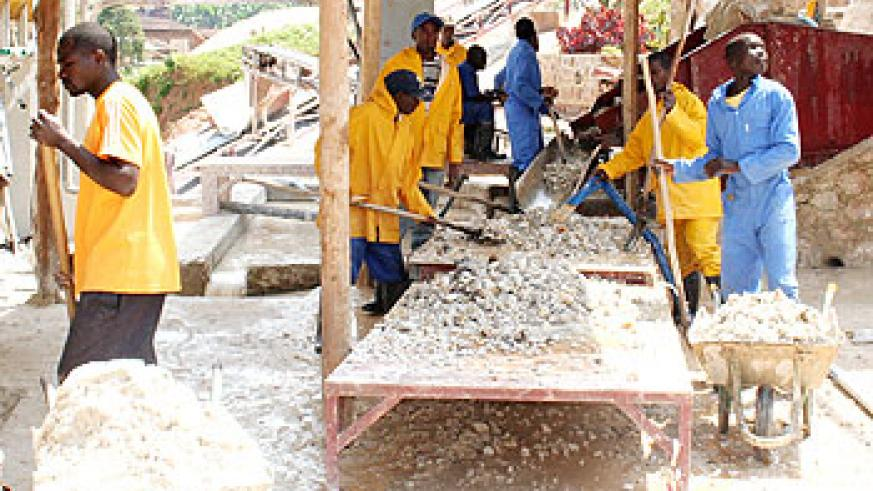 Workers at a mining facility in Gatumba, Ngororero District. The workers' union has called for better treatment of miners. The New Times File.