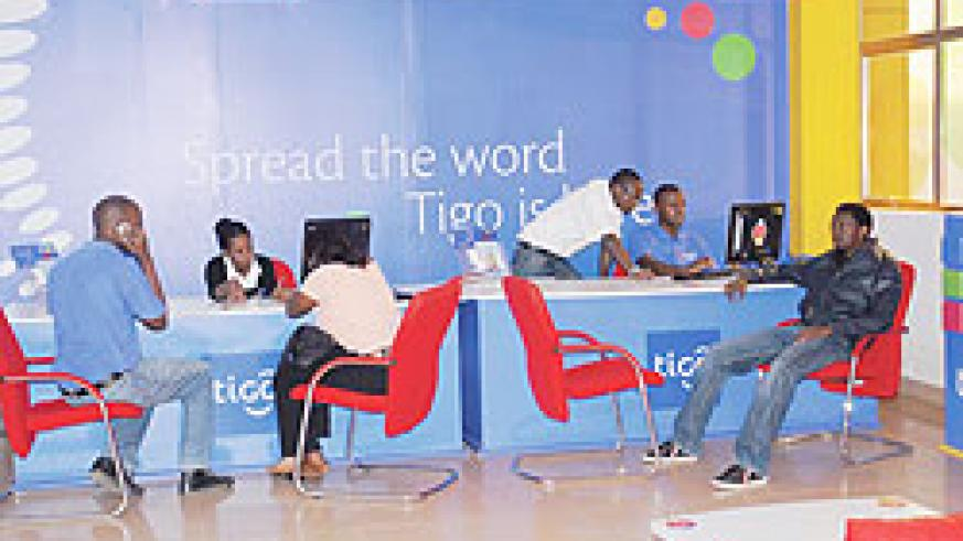 A Tigo outlet in Kigali; Stiff competition in the  last 2 months has seen subscription rise by 10 percent. The New Times/ File photo