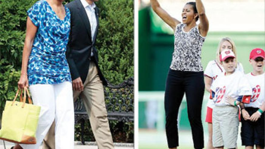 L-R:Mrs. Obama in ankle grazing pants; Mrs Obama looking comfortable in ankle grazing pants