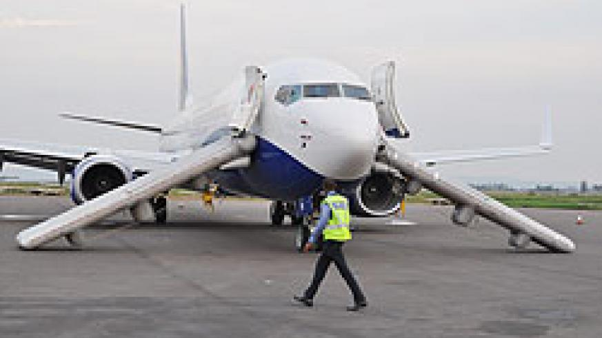 RwandAir crew has completed partial emergency evacuation exercises The New Times / File photo