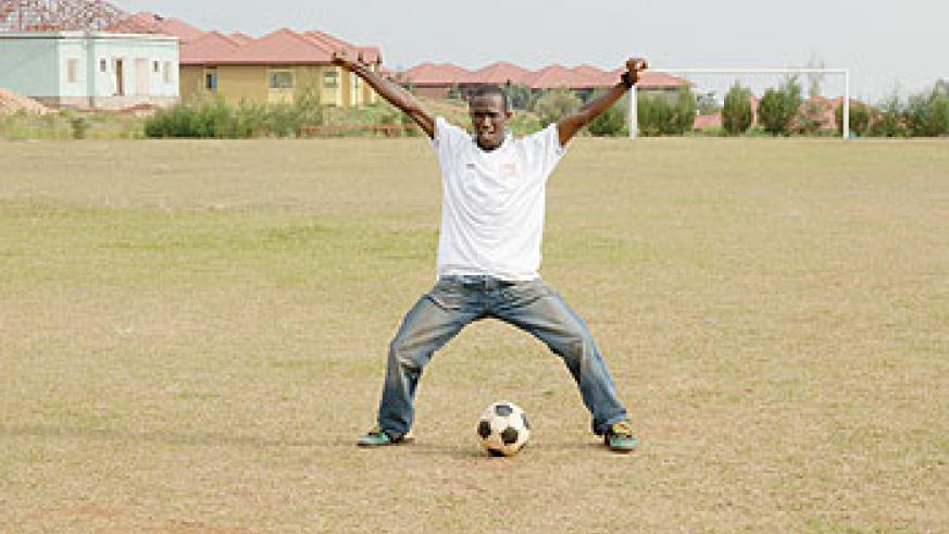 Rwandan youth love local football.