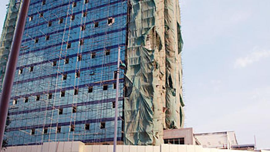 The Insurance Plaza that is still going under construction in the heart of Kigali is due for completion next month. The New Times /Timothy Kisambira