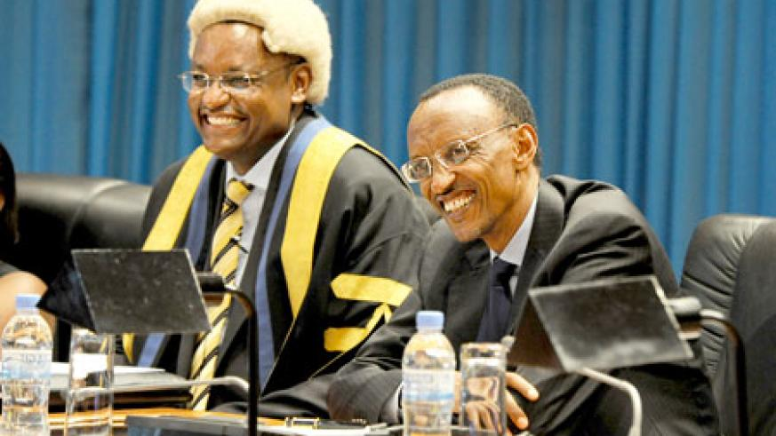 President Kagame (R) and the EALA Speaker, Haithar Abdi-Abdirahin, at the opening session of the 2nd EALA assembly at the Parliamentary Buildings in Kigali. The New Times /Village Urugwiro.