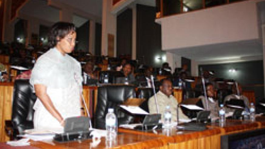 The Chairperson of the Council of Ministers, Burundi's Hafsa Mossi, makes her submissions on the floor of the House on Wednesday. The New Times /Courtesy