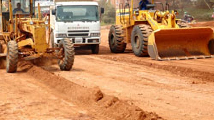 A road construction site in Kigali; Government seeks to decentralise road maintenance services to the district level. The New Times /File.