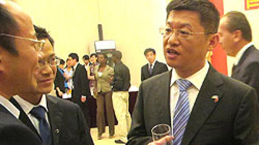Chen Dong the new Chinese first Counsellor to Rwanda talking to guests. The New Times /Doreen Umutesi