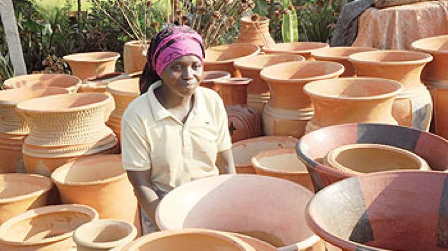A woman selling flower pots. The New Times/ File photo