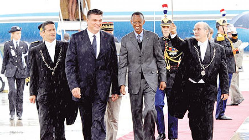 President Kagame, arrived in Paris, France, yesterday, for a two-day official visit. The New Times / Village Urugwiro.
