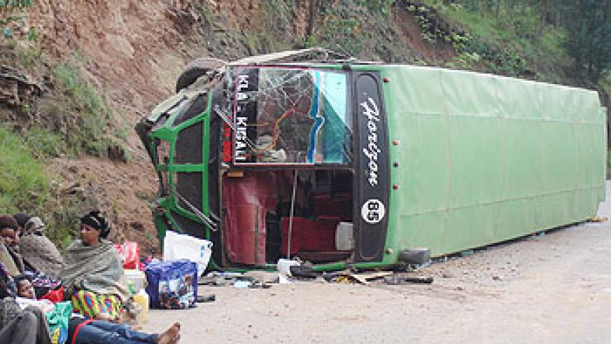 This is the second time in a few months that this bus in involved in an accident. The New Times / File photo