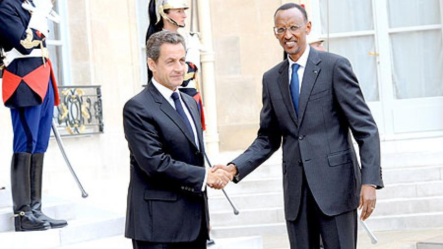 President Kagame being received by President Sarkozy at the Élysée Palace yesterday. The New Times/Village Urugwiro