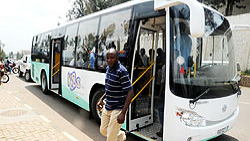 One of the 20 new KBS buses that hit Kigali roads yesterday. The New Times /John Mbanda.