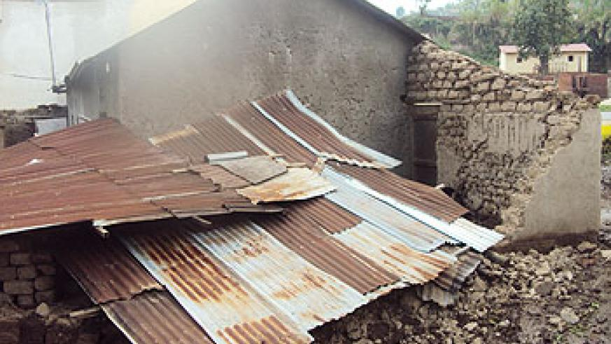 A house belonging to Jean Bosco Sebishyimbo which was destroyed by heavy rains  in Rubavu District on Monday. The New Times / A. Ngarambe.