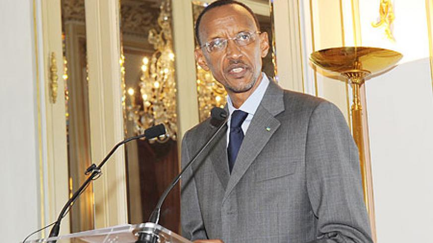 President Kagame addresses members of the Movement of  French Enterprises (MEDEF) in Paris, France yesterday The New Times /Courtesy