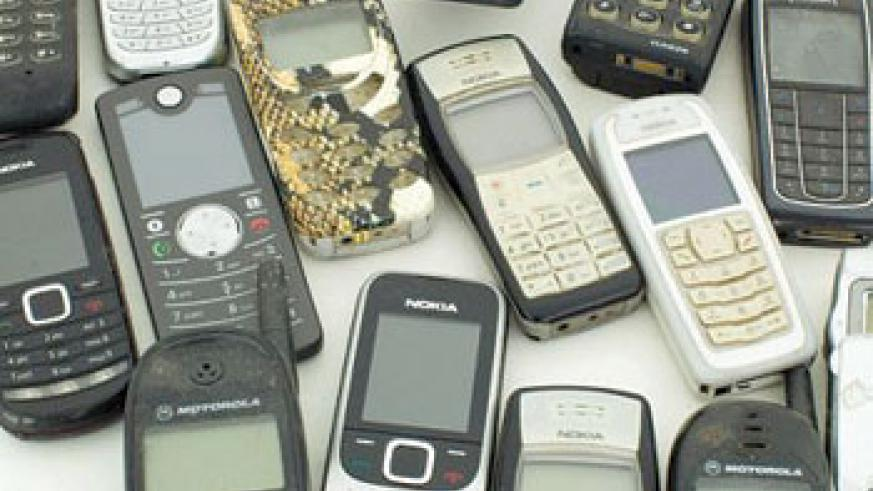 Text addict-- Ms Moberly's collection of phones she has used to store messages over the years. Net photo