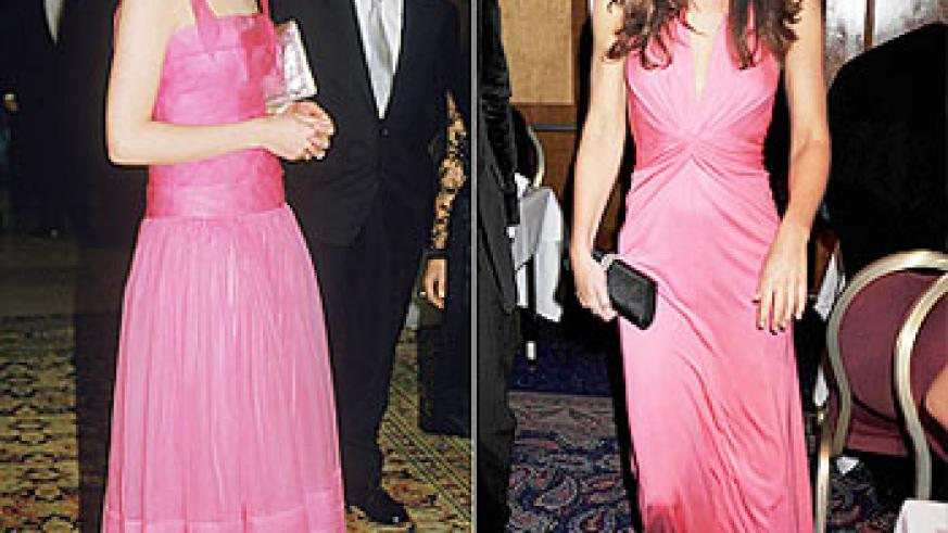 The late Pricess Diana (L) and Kate Middleton all in pink gowns