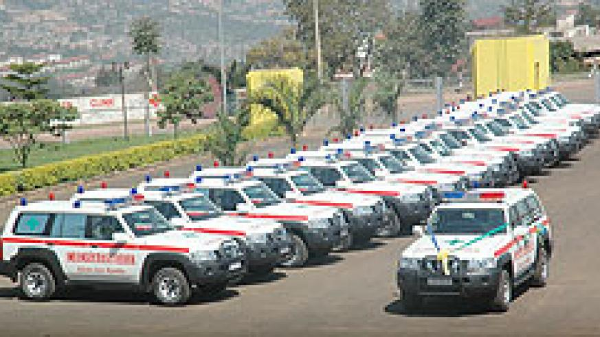 Ambulances are some of the equipment used by Rwanda to make healthcare accessible by all citizens. The New Times /File.