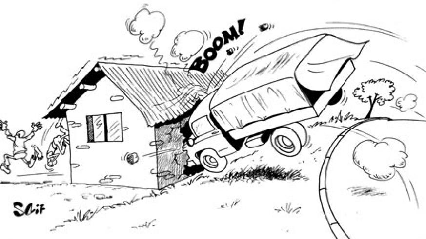 Two Tanzanian registered trailers collided, before one lost control and rammed into a nearby house in Rwamagana, yesterday.
