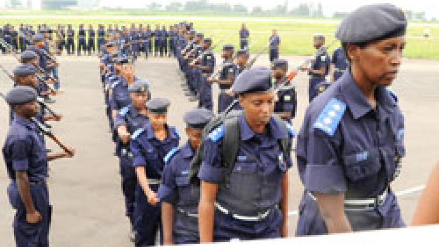 Police officers depart for a peacekeeping mission abroad. Rwanda will soon deploy a contigent of police officers to Ivory Coast. The New Times /File.