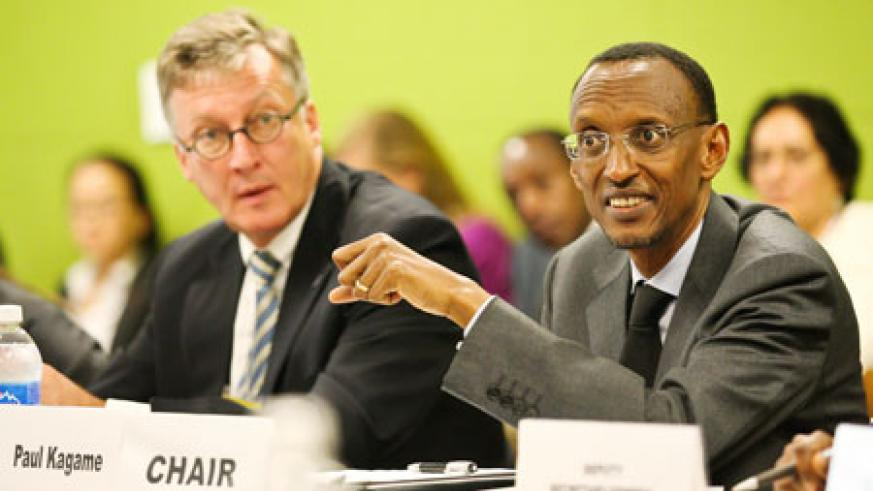 President Kagame chaired the MDGs Advocacy Group meeting yesterday in New York. Looking on is Ambassador Thomas Stelzer, the UN Assistant Secretary-General for policy co-ordination and inter-agency affairs. The New Times/Village Urugwiro.