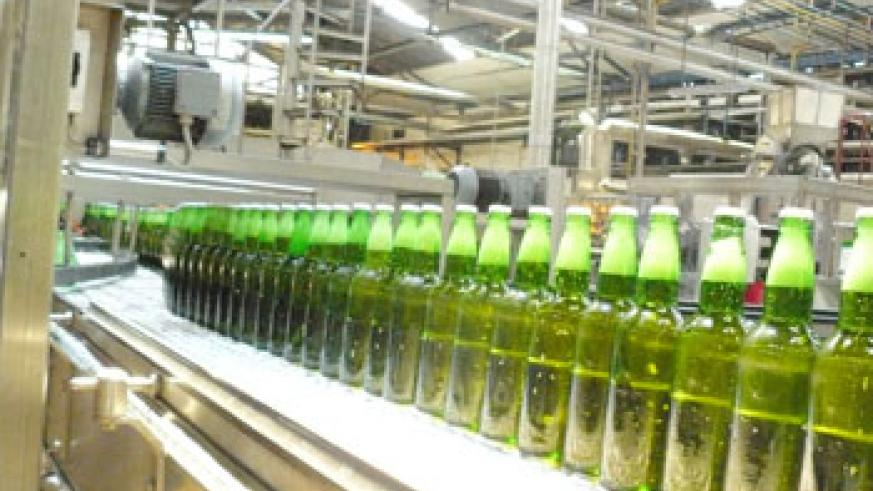 Bralirwa's Mutzing beer brand in the company's production line. The New Times / File