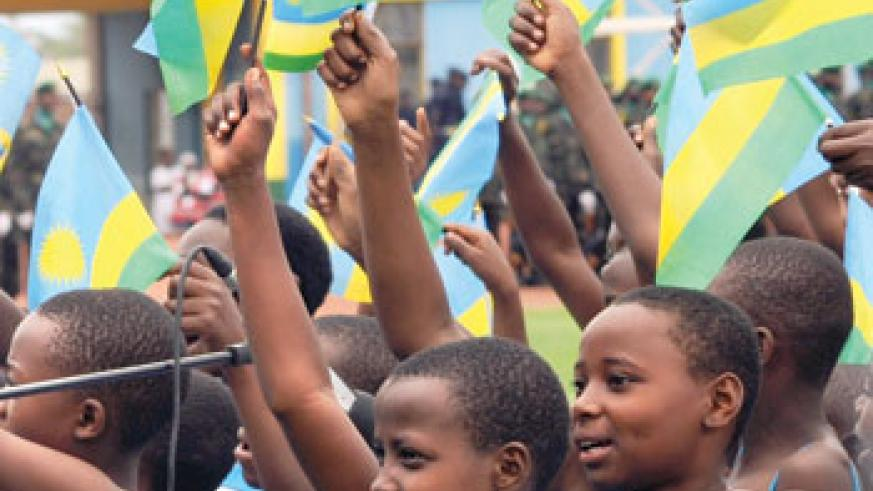 Peace in Rwanda is enjoyed by all.  The blue colour on the flag symbolizes joy and peace. The New Times / T. Kisambira