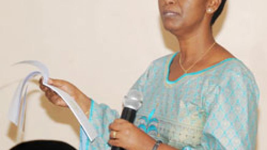 Gender Minister Inyumba talks to media practitioners about the upcoming campaign yesterday. The New Times /John Mbanda.