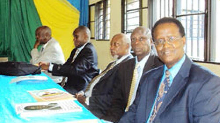 The five senate candidates who are vying for the seat allocated to public universities.  The New Times /Daniel Sabiiti