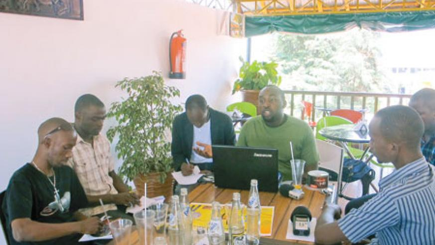 Honoray Iyakaremye (clad in a green T-shirt) addresses journalists during a press conference.The NewTimes /Linda Mbabazi.