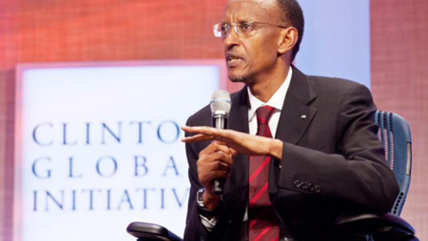 President Kagame addresses the Clinton Global Initiative Meeting on empowering women, yesterday in New York. The New Times / Adam Scotti.