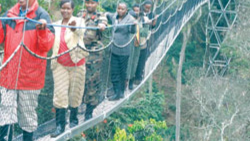 The canopy walk  is one of the latest tourism products introduced in the fast growing tourism sector. The New Times / File.